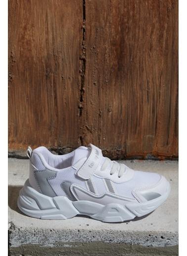 Tonny Black Beyaz Gümüş Çocuk Spor Ayakkabı Tb0098 Beyaz